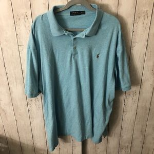 Light blue heathered polo shirt 3XLT